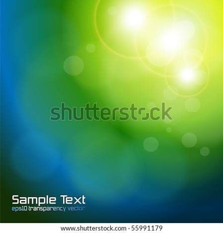 Abstract background blue green blurry lights. - stock vector