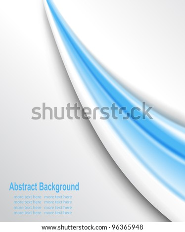 Abstract background blue wave lines on white, vector. - stock vector