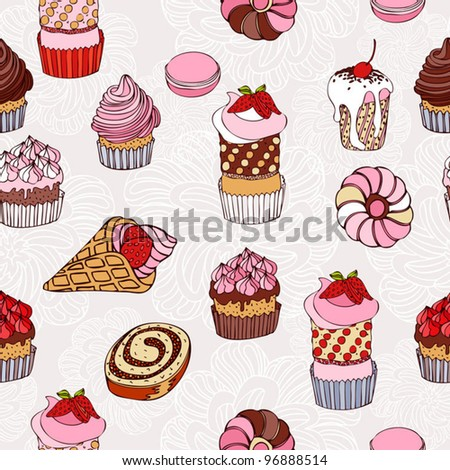 Abstract background, cakes seamless pattern, vintage vector wallpaper, retro fabric and colorful wrapping with graphic sweet cakes and flower for decoration and design