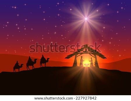 Abstract background, Christian Christmas scene with shining star in the sky, birth of Jesus, and wise men on camels, illustration. This is EPS10 file. Illustration contains a transparency blends.   - stock vector