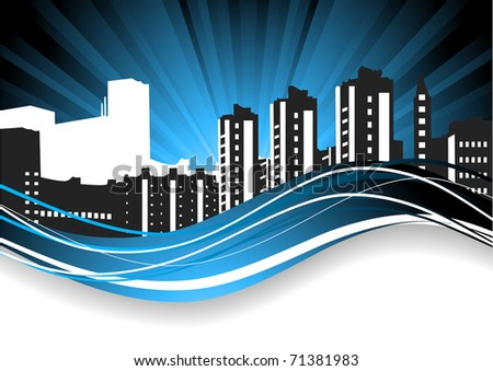 Abstract background. Cityscape - stock vector