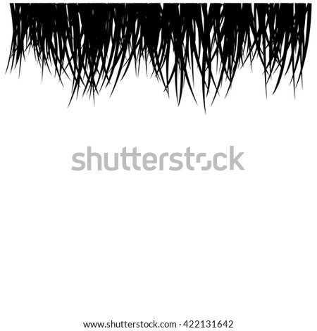 Abstract background composed of black grass blades drawn across the top against on white - stock vector