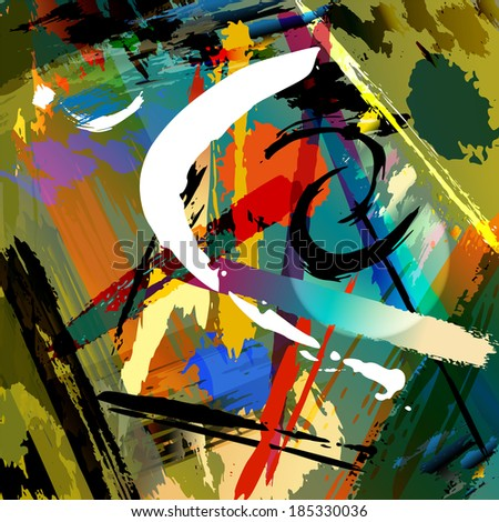 abstract background composition, with paint strokes and splashes - stock vector
