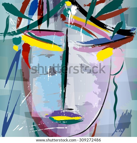abstract background composition, with paint strokes and splashes, face/mask - stock vector