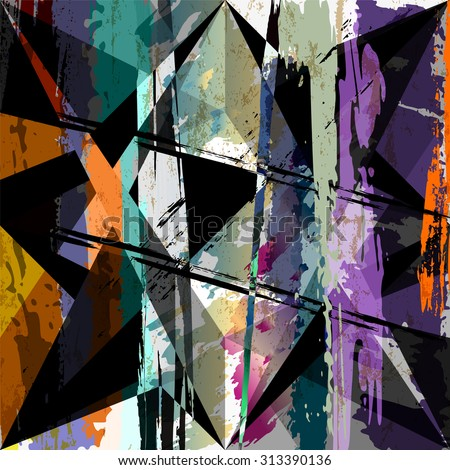 abstract background composition, with paint strokes, splashes and triangles - stock vector