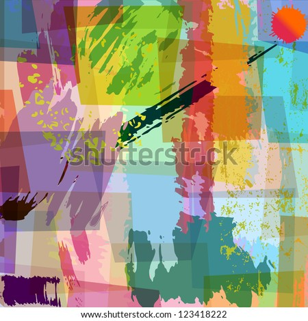 abstract background composition, with strokes and splashes, - stock vector