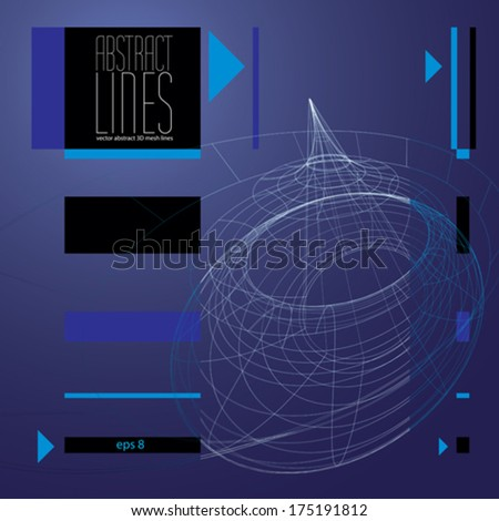 Abstract background, 3D abstract lines vector illustration, communication and digital technology abstract background, clear eps 8 vector.