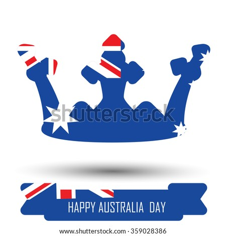 Abstract background design for Happy Australia Day. Crown shape flag