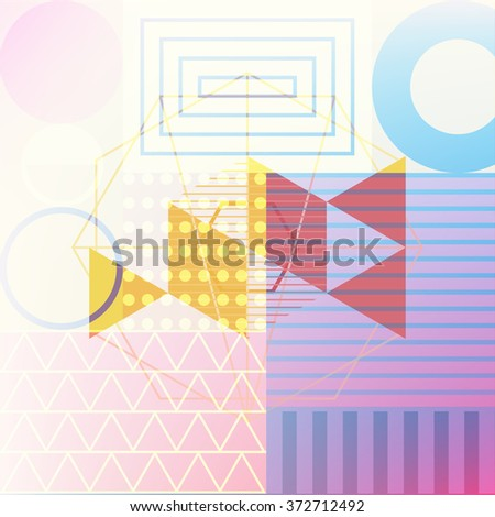 abstract background double exposure graphic, geometry vector illustration - stock vector