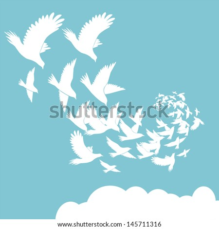 Abstract background flying birds vector illustration - stock vector