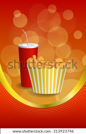 stock vector abstract background food chicken red drink cola yellow gold vertical frame illustration vector 313923746 - Каталог — Фотообои «Еда, фрукты, для кухни»