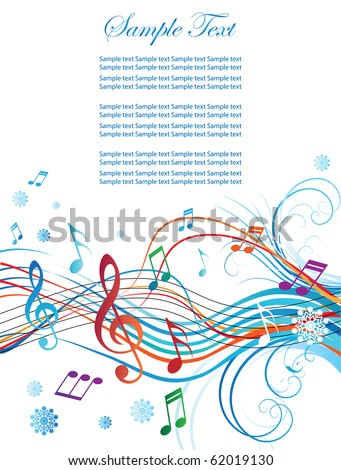 Abstract background for Christmas and New Year, with notes and treble clef