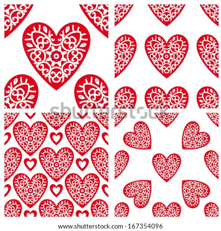 Abstract Background For Design. Set Of Seamless Patterns With Valentines Hearts