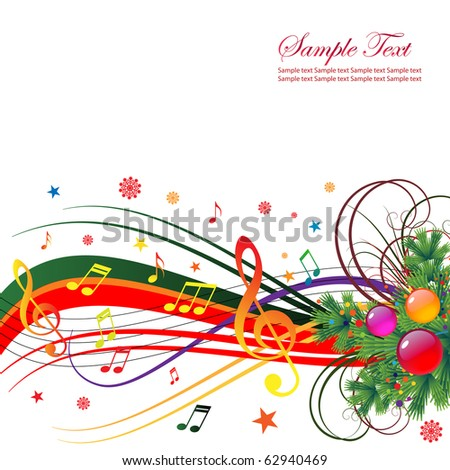 Abstract background for the holiday Christmas with music and Christmas tree branches. - stock vector