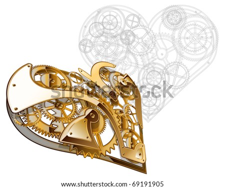 Abstract background for valentine's day. Mechanical heart. The drawing. - stock vector