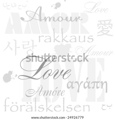 Abstract background from love words. Multilanguage - stock vector