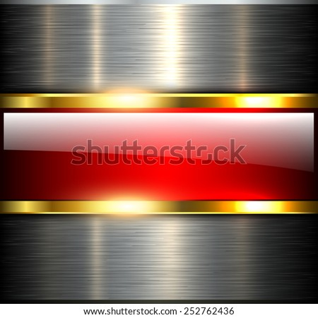 Abstract background glossy and shiny red metallic, vector illustration. - stock vector