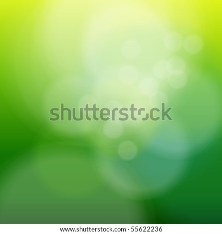 Abstract background green blurry lights. Vector illustration.