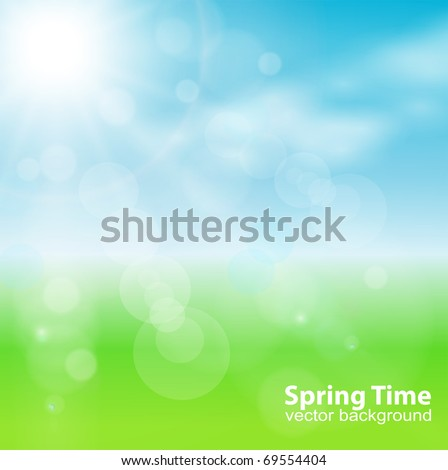 abstract background green, light and sunny , vector. - stock vector