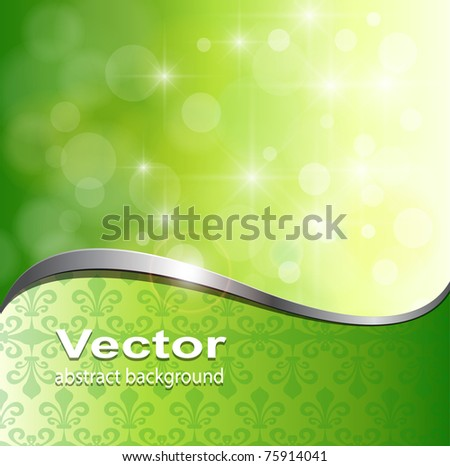 Abstract background, green lights with metallic wave, vector. - stock vector