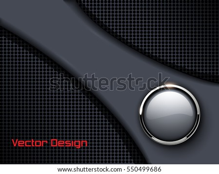 Abstract background grey with glossy button, vector illustration.