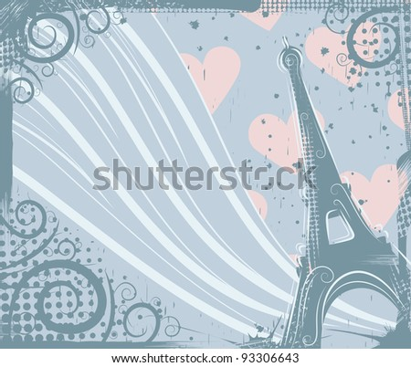 Abstract background in grunge style to the Eiffel Tower - stock vector