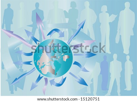 Abstract background in light blue tones with the continent outlines, arrows and people silhouettes