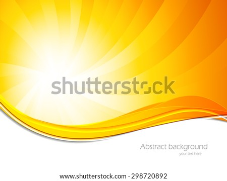 Abstract background in orange color with sun shine effect - stock vector