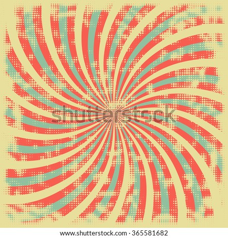 Abstract background in retro style. Swirling rays halftone texture with grunge effect - stock vector