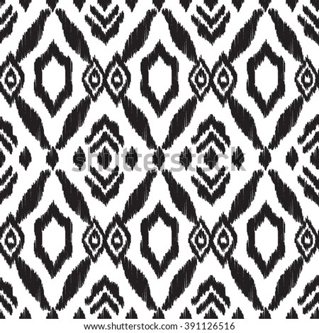 Abstract background in the aztec style. Black and white Ikat seamless pattern for textile, wallpaper, card or wrapping paper. - stock vector