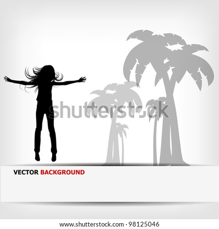 abstract background jump girl silhouette - vector illustration - stock vector
