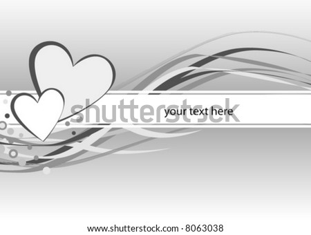 abstract background love Valentine heart monochrome - stock vector
