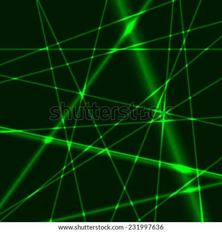 Abstract background made from green laser beams - stock vector