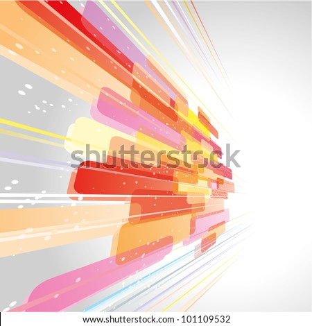 Abstract background made of lines and moving shapes - stock vector
