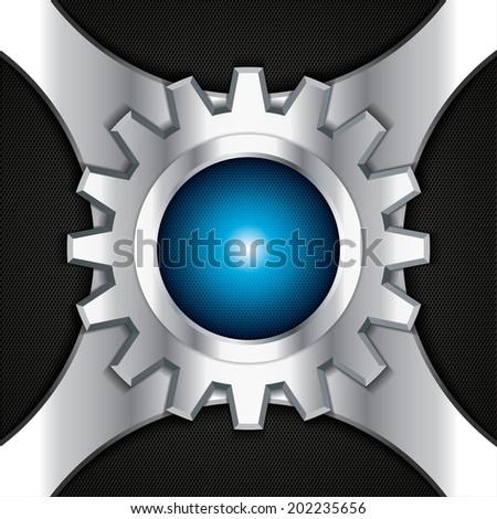 Abstract background, metallic blue brochure, vector - stock vector