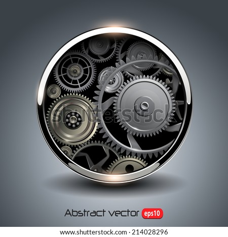 Abstract background metallic chrome 3D button with gears, vector. - stock vector
