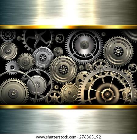 Abstract background metallic chrome silver with gears, vector illustration. - stock vector