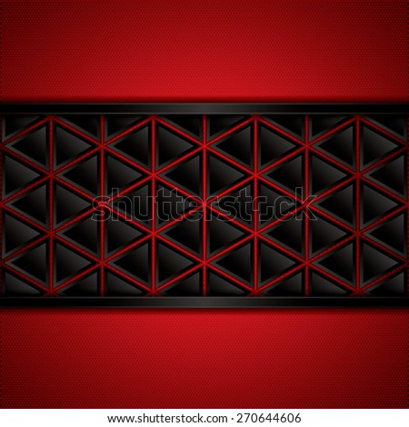 Abstract background, metallic red brochure, vector - stock vector