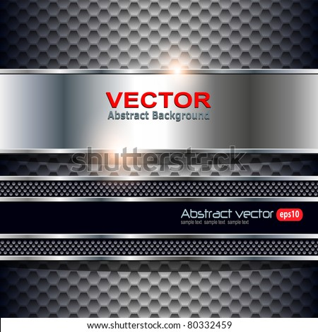 Abstract background, metallic silver banners, vector. - stock vector