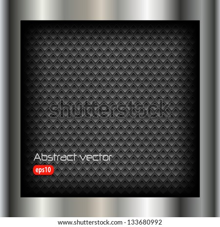 Abstract background metallic silver with holes pattern, vector.