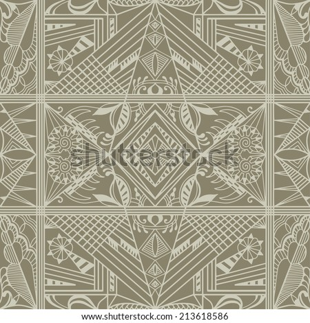 Abstract background, monochrome seamless texture, retro geometric ornament, lace pattern, tribal ethnic decoration, hand drawn artwork - stock vector