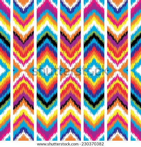 Abstract background. Multicolored zigzag print for textile, wallpaper, card. Ikat seamless pattern. Vector illustration. - stock vector