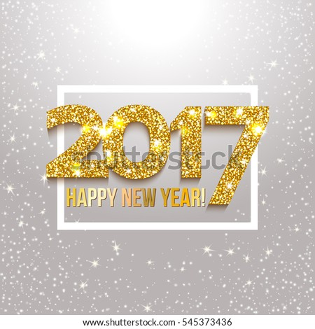 Abstract background. 2017 New Year text with lights and sparkles. Vector illustration