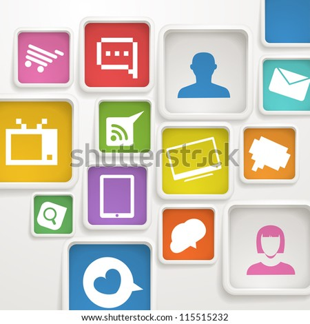Abstract background of color boxes with media icons - stock vector