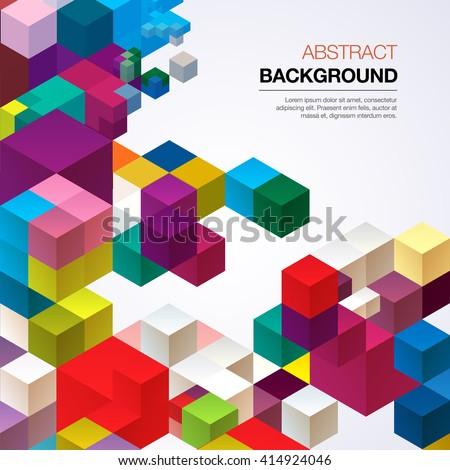 Abstract background of colored cubes - stock vector
