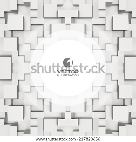 Abstract background of 3d blocks. Vector illustration. With place for text. - stock vector