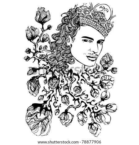 Abstract background of designer John Galliano with crown and flowers - stock vector