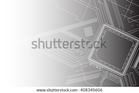 Abstract background of digital technologies. Elements of computer motherboard. Vector illustration. White-green color. - stock vector