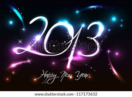 Abstract Background of Glowing New Year 2013 - stock vector