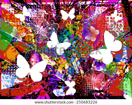 Abstract background of ink stains with butterflies. Vector - stock vector